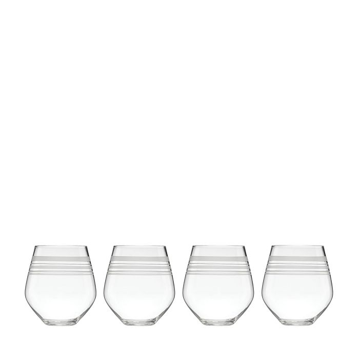 kate spade new york - Library Stripe Stemless Red Wine Glass, Set of 4
