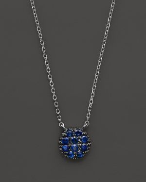 Dana Rebecca Designs 14K White Gold and Blue Sapphire Lauren Joy Mini Necklace, 16
