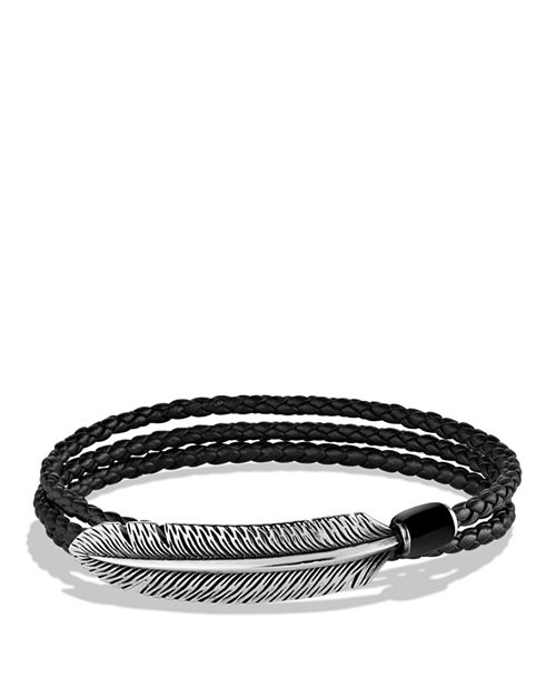 David Yurman - Southwest Feather Triple-Wrap Bracelet in Black with Black Onyx