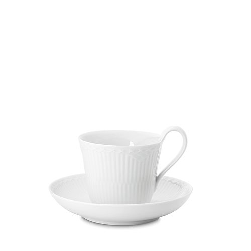 Royal Copenhagen - White Fluted Half Lace Cup & Saucer