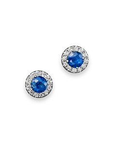 Blue Sapphire and Diamond Halo Stud Earrings in 14K White Gold - 100% Exclusive - Bloomingdale's_0