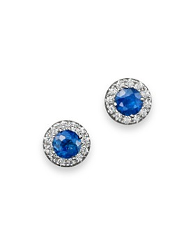 c479fcf0b Bloomingdale's - Blue Sapphire and Diamond Halo Stud Earrings in 14K White  Gold - 100%
