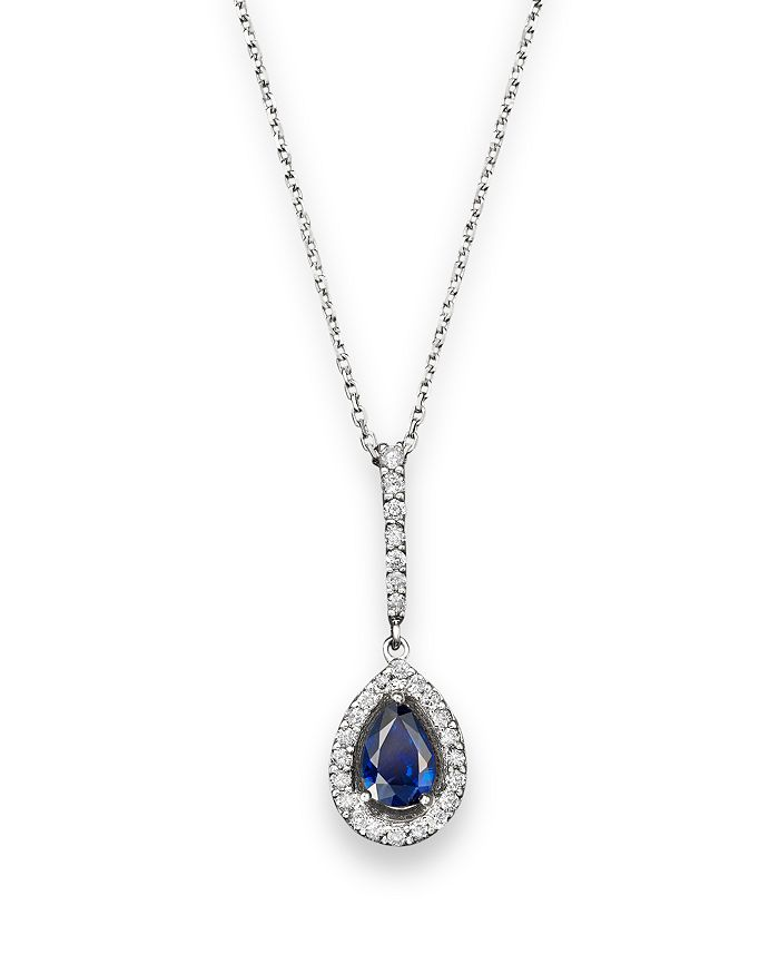 "Bloomingdale's - Blue Sapphire and Diamond Teardrop Pendant Necklace in 14K White Gold, 17"" - 100% Exclusive"