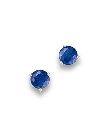 Bloomingdale's - Sapphire Stud Earrings in 14K White Gold- 100% Exclusive