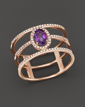 Amethyst and Diamond Geometric Ring in 14K Rose Gold - 100% Exclusive