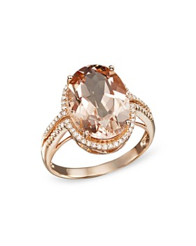 Bloomingdale's - Morganite and Diamond Oval Statement Ring in 14K Rose Gold- 100% Exclusive