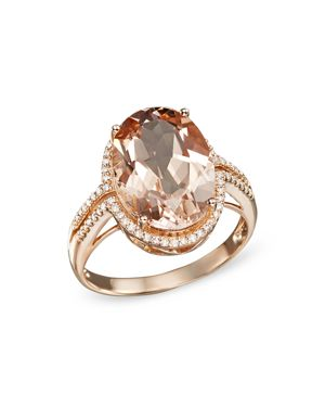 Morganite and Diamond Oval Statement Ring in 14K Rose Gold - 100% Exclusive