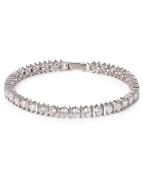 Crislu Bar Hand Round Cut Tennis Bracelet 10 0 Ct T W