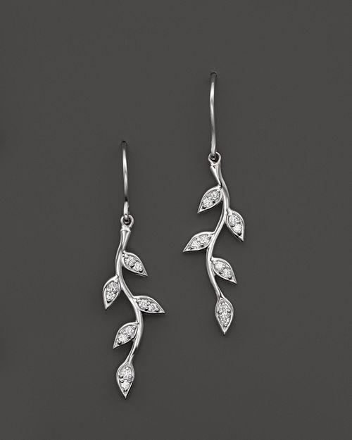KC Designs - Diamond Vine Drop Earrings in 14K White Gold, .18 ct. t.w.