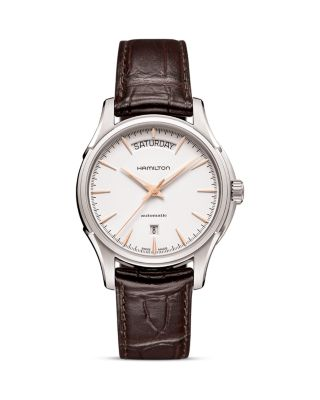 HAMILTON Jazzmaster Automatic Leather Strap Watch, 40Mm in Brown/ White/ Silver