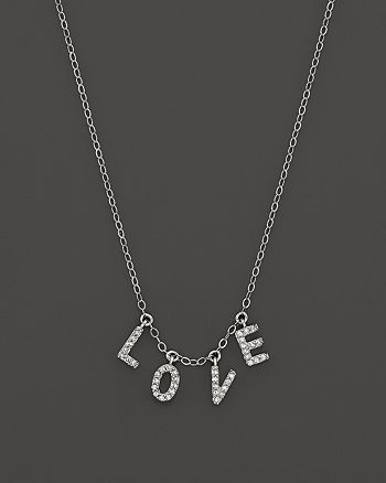 "Bloomingdale's - Diamond ""LOVE"" Necklace in 14K White Gold, .12 ct. t.w. - 100% Exclusive"