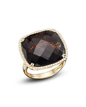 Bloomingdale's - Smoky Quartz & Diamond Statement Ring in 14K Yellow Gold - 100% Exclusive