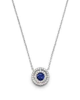 """Bloomingdale's - Blue Sapphire and Diamond Pendant Necklace in 14K White Gold, 16""""- 100% Exclusive"""