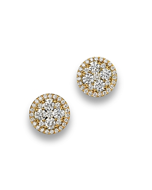 Diamond Cluster Stud Earrings in 14K Yellow Gold, 1.50 ct. t.w. - 100% Exclusive