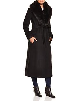 Calvin Klein - Faux Fur Trim Wrap Coat