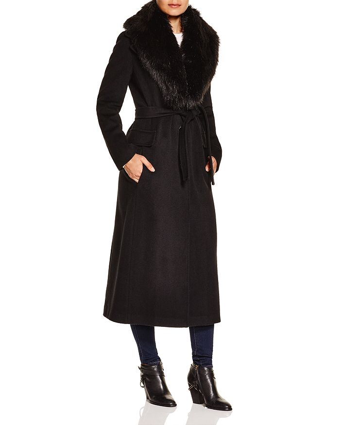 Calvin Klein - Faux Fur Trim Wrap Coat