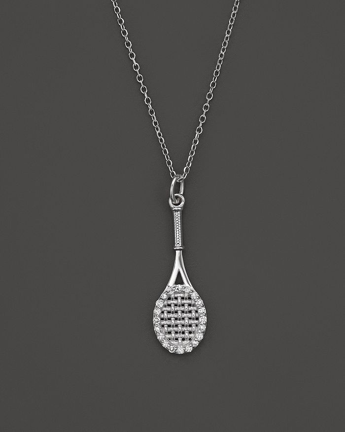 "KC Designs - Diamond Tennis Racket Pendant Necklace in 14K White Gold, 16"""