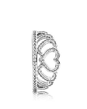 PANDORA - Sterling Silver & Cubic Zirconia Hearts Tiara Ring