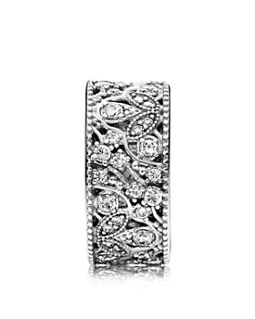 PANDORA - Sterling Silver & Cubic Zirconia Shimmering Leaves Ring