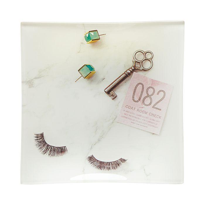 kate spade new york - Square Glass Tray, Eyelashes & Key