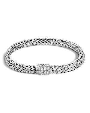 John Hardy Classic Chain Sterling Silver Small Bracelet with Diamond Pave
