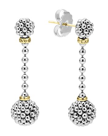 LAGOS - Sterling Silver Caviar Beaded Drop Earrings with 18K Gold