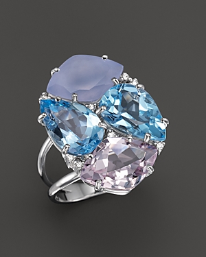 Vianna Brasil 18K White Gold Ring with Blue Topaz, Chalcedony, Pink Amethyst and Diamond Accents