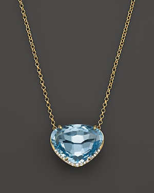 Vianna Brasil 18K Yellow Gold Necklace with Blue Topaz and Diamond Accents, 16.5