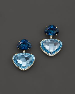 Vianna Brasil 18K Yellow Gold Earrings with London Blue Topaz and Diamond Accents