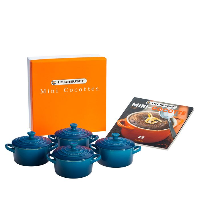 Le Creuset - Set of 4 Mini Cocottes with Mini-Cocotte Cookbook