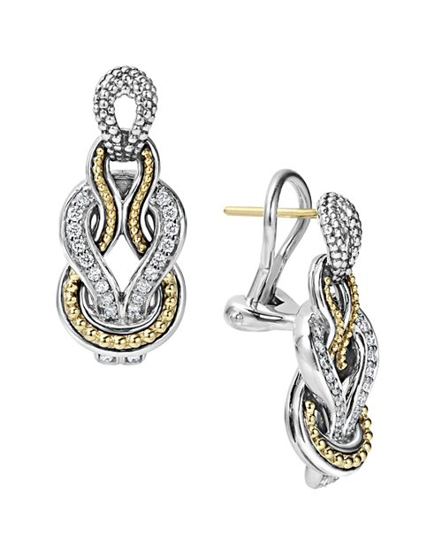 LAGOS - Sterling Silver and 18K Gold Newport Diamond Earrings