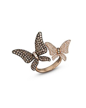 Bloomingdale's - Brown and White Diamond Butterfly Statement Ring in 14K Rose Gold- 100% Exclusive
