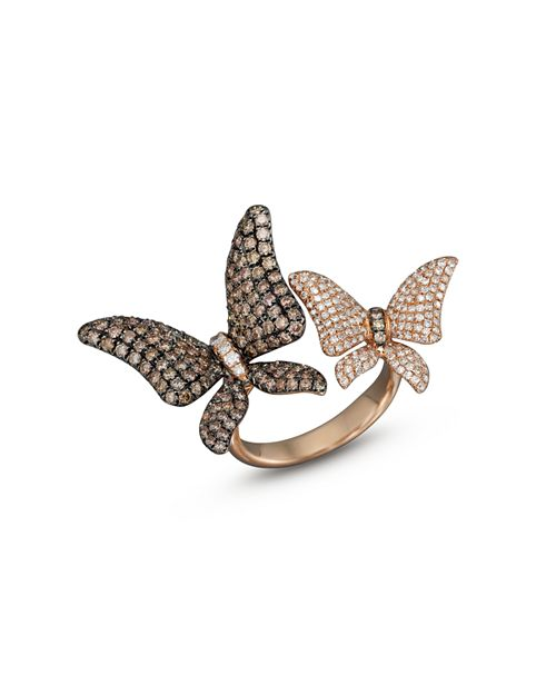 Bloomingdale's - Brown and White Diamond Butterfly Statement Ring in 14K Rose Gold - 100% Exclusive