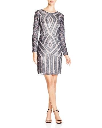 $Adrianna Papell Diamond Beaded Dress - Bloomingdale's