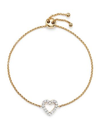 Bloomingdale's - Diamond Heart Bracelet in 14K Yellow Gold, .25 ct. t.w. - 100% Exclusive