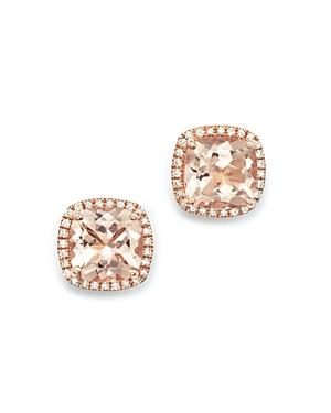 Morganite and Diamond Earrings in 14K Rose Gold - 100% Exclusive