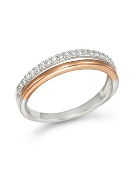 Bloomingdale's - Diamond Double Row Band Ring in 14K White and Rose Gold, .12 ct .t.w. - 100% Exclusive