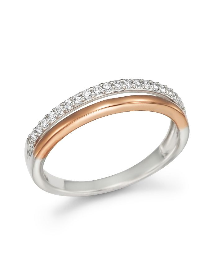 Bloomingdale's - Diamond Double Row Band Ring in 14K White and Rose Gold, .12 ct .t.w.- 100% Exclusive