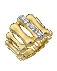 Chimento - 18K Yellow & White Gold Bamboo Over Collection Statement Ring with Diamonds