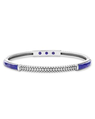 Sterling Silver Maya Thin Bangle With Lapis