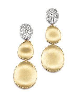 Marco Bicego Diamond Lunaria Three Drop Large Earrings in 18K Yellow Gold
