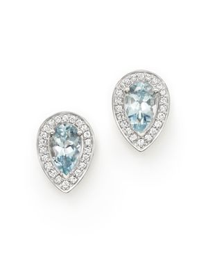 Aquamarine and Diamond Teardrop Earrings in 14K White Gold - 100% Exclusive