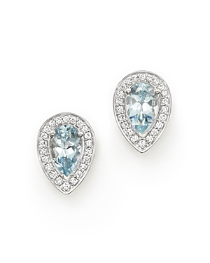 Aquamarine and Diamond Teardrop Earrings in 14K White Gold - 100% Exclusive