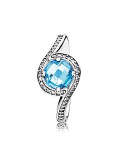 PANDORA Ring - Sterling Silver, Cubic Zirconia & Crystal Sky Blue Radiant Embellishment - Bloomingdale's_0