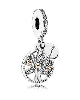 Pandora - Moments Collection 14k Gold, Sterling Silver & Cubic Zirconia Family Heritage Dangle Charm