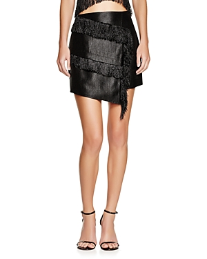 J.o.a Asymmetric Fringe Mini Skirt - 100% Exclusive