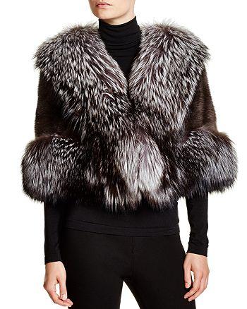 Maximilian Furs - Feathered Saga Fox Fur-Trim Mink Cape
