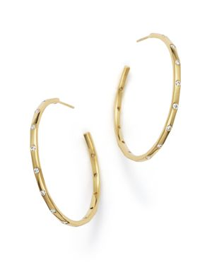 Ippolita 18K Gold Glamazon Stardust Hoop Earrings with Diamonds