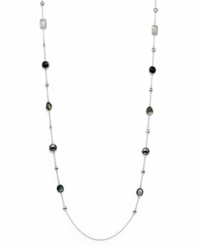 """IPPOLITA - Sterling Silver Rock Candy® Medium Stone with Beads Station Necklace in Black Tie, 42"""""""