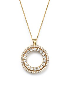 Roberto Coin - 18K Yellow Gold Double Sided Circle Pendant Necklace with White and Cognac Diamonds, 16""